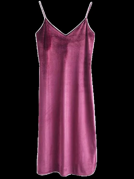 Cami Velvet Midi Dress - RUSSET-RED S Mobile
