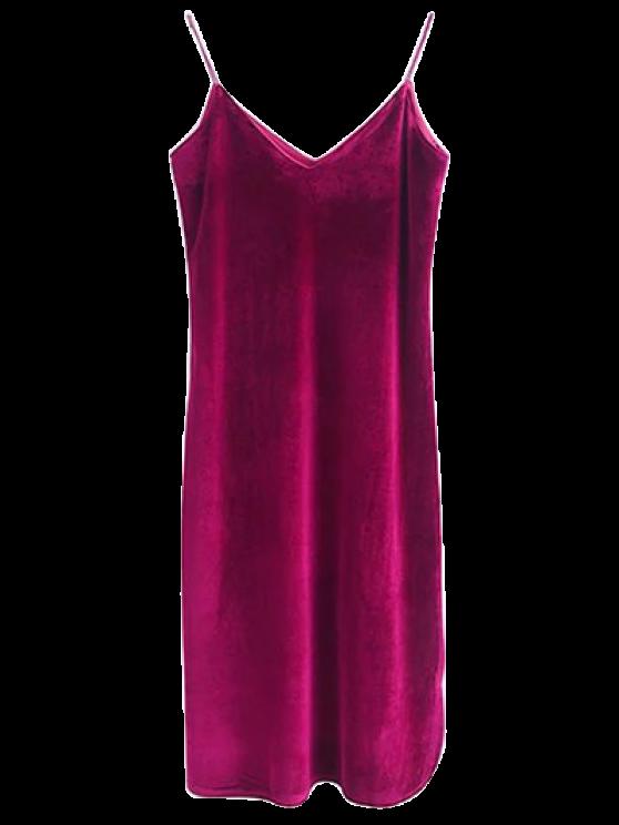 Cami Velvet Midi Dress - WINE RED M Mobile