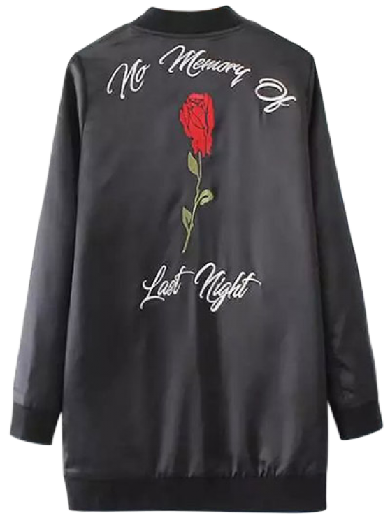 Rose Embroidered Bomber Coat - BLACK M Mobile