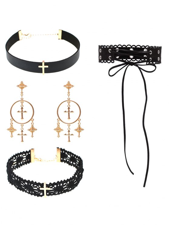 Cross Lace PU Leather Necklace and Earrings -   Mobile