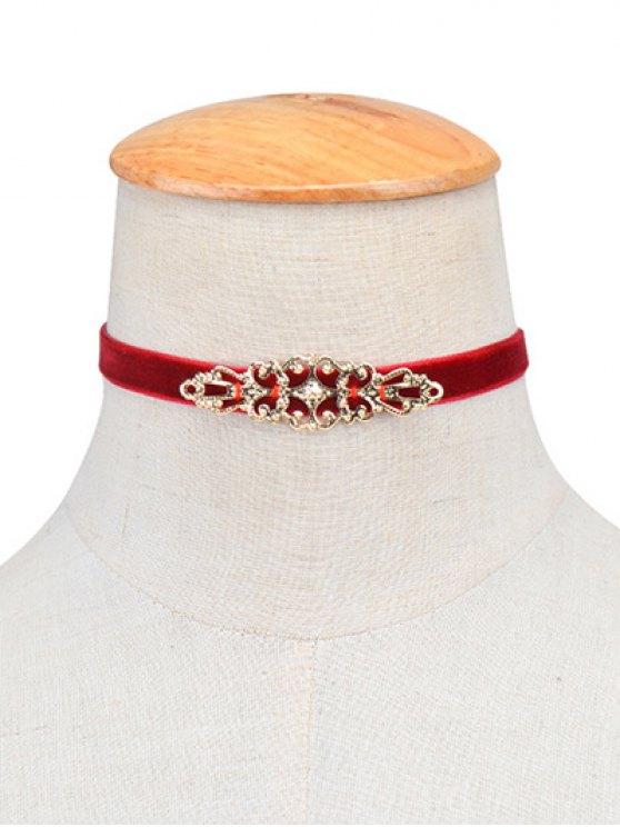 Hollowed Geometry Velvet Choker Necklace - BURGUNDY  Mobile