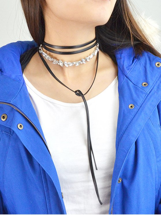 Rhinestone Wrap Choker - BLACK  Mobile