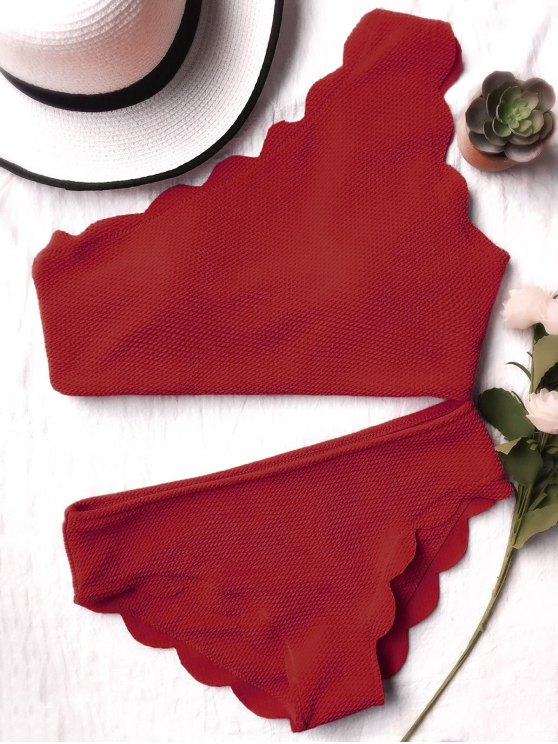 Wireless Scalloped One Shoulder Bathing Suit - BURGUNDY M Mobile