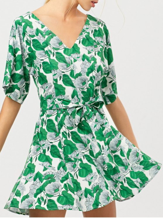 Leaves Print Belted A-Line Dress - GREEN XL Mobile