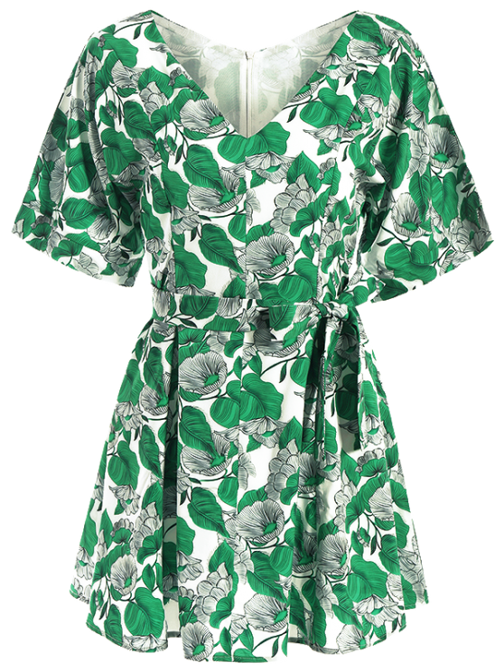 Leaves Print Belted A-Line Dress - GREEN S Mobile