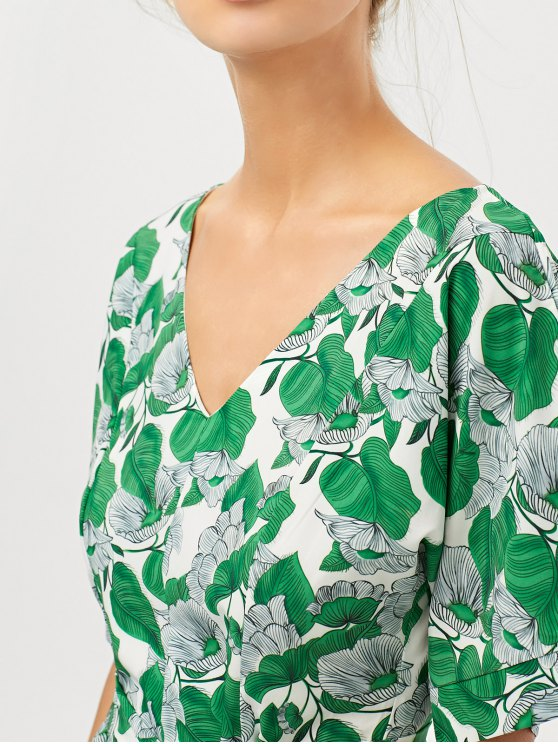 Leaves Print Belted A-Line Dress - GREEN XS Mobile