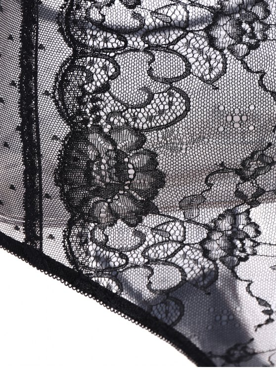 Lace Panel See-Through Bodysuit - BLACK M Mobile