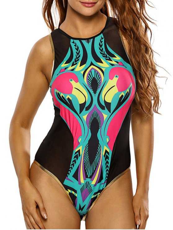 Flamingo Print Mesh Cute High Neck Swimsuit - BLACK L Mobile