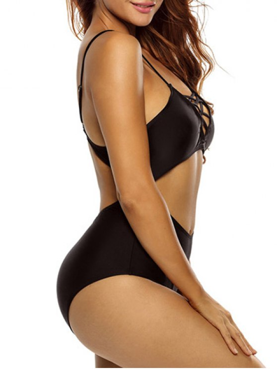 One Piece Cutout Bathing Suit - BLACK L Mobile