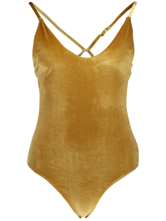Reversible Cross Back Pleuche Swimwear - GOLD BROWN L Mobile