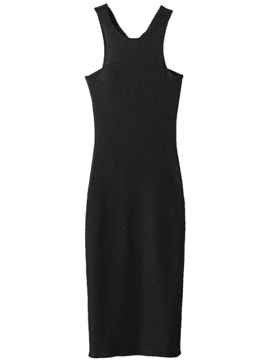 womens Twist Low Back Pencil Tank Dress - BLACK M