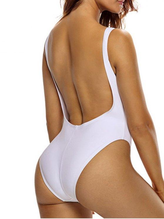 High Cut See Through One Piece Swimmwear - WHITE L Mobile
