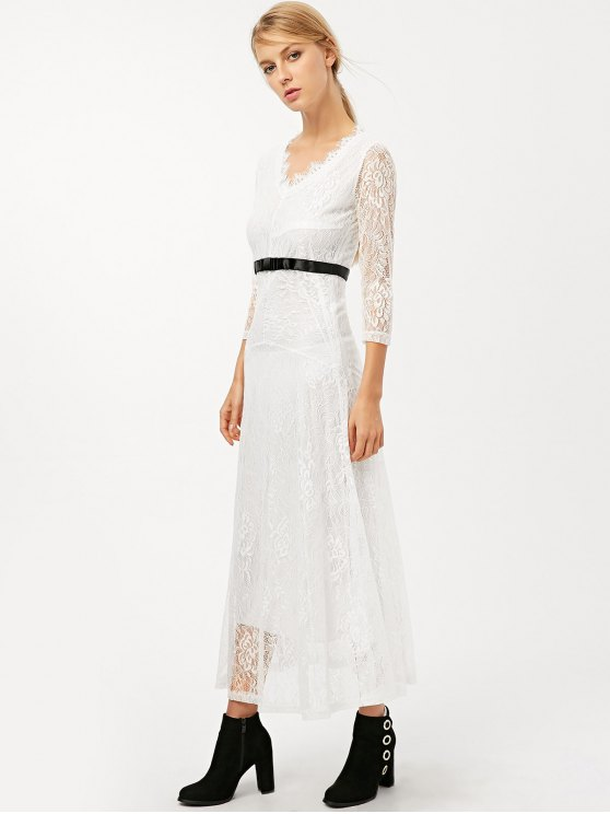 V Neck Lace Prom Maxi Dress - WHITE L Mobile