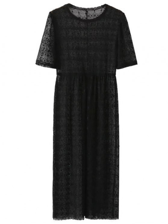 Lace Sheer Midi Dress - BLACK M Mobile