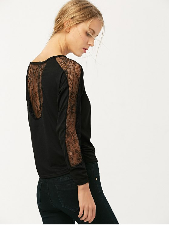 See Thru Lace Panel Tee - BLACK M Mobile
