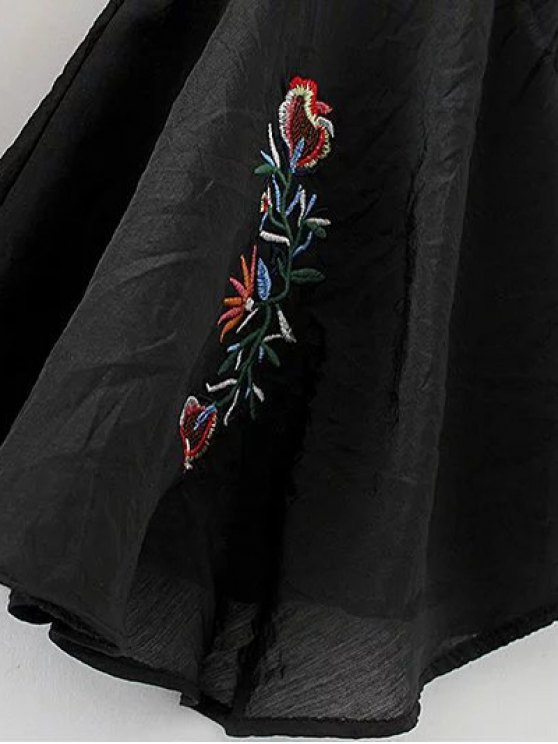 Flare Sleeve Lace Up Embroidered Top - BLACK S Mobile