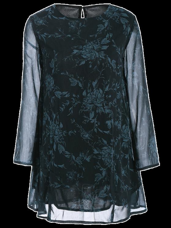 Long Sleeve Floral Jacquard A-Line Dress - BLACK S Mobile