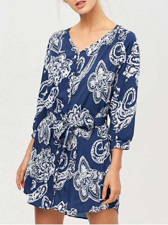 chic Vintage Printed Tunic Shirt Dress - BLUE XS