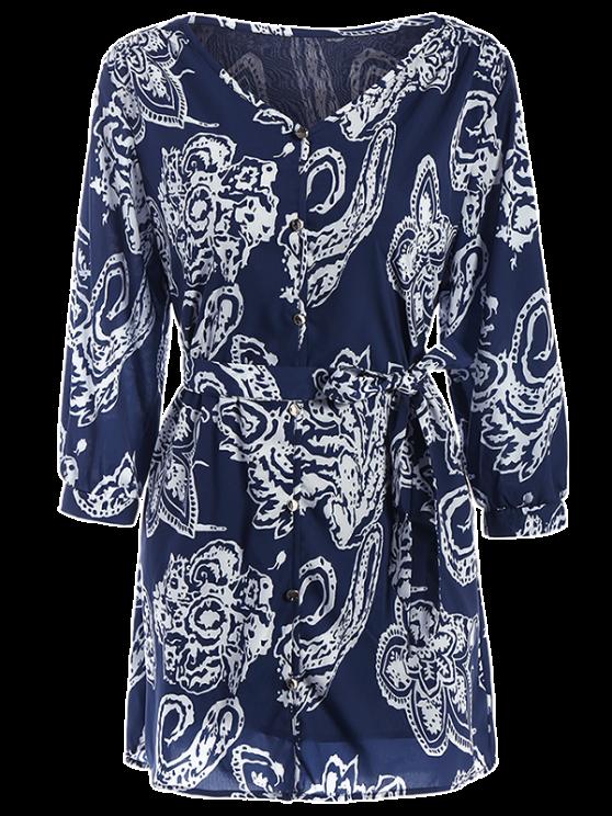 Vintage Printed Tunic Shirt Dress - BLUE L Mobile