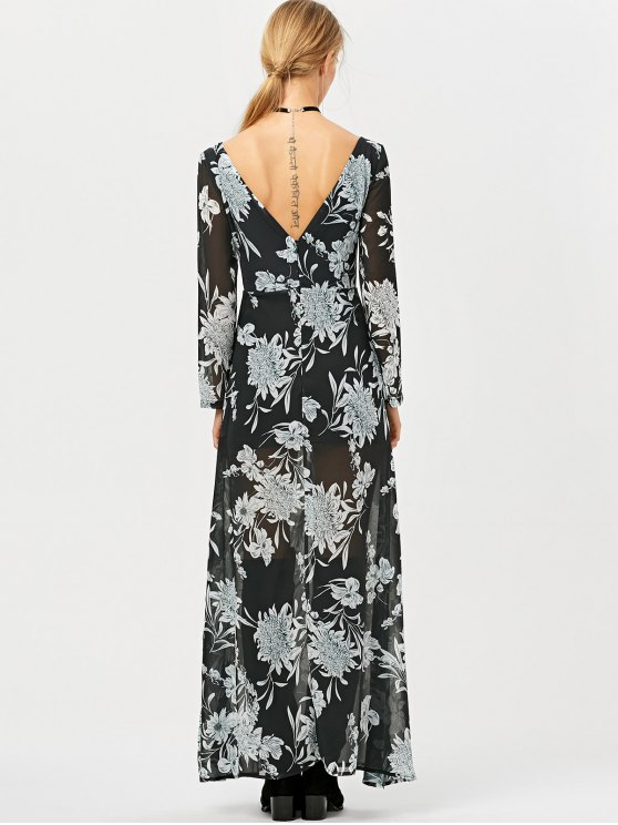 High Slit Floral Print Maxi Dress - BLACK S Mobile