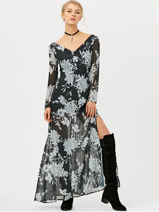 High Slit Floral Print Maxi Dress - BLACK 2XL Mobile