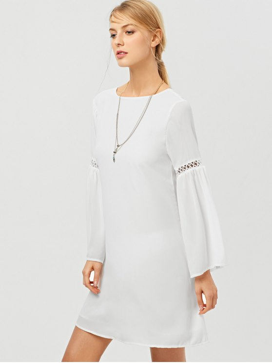 Cut Out Long Flare Sleeve Swing Dress - WHITE S Mobile