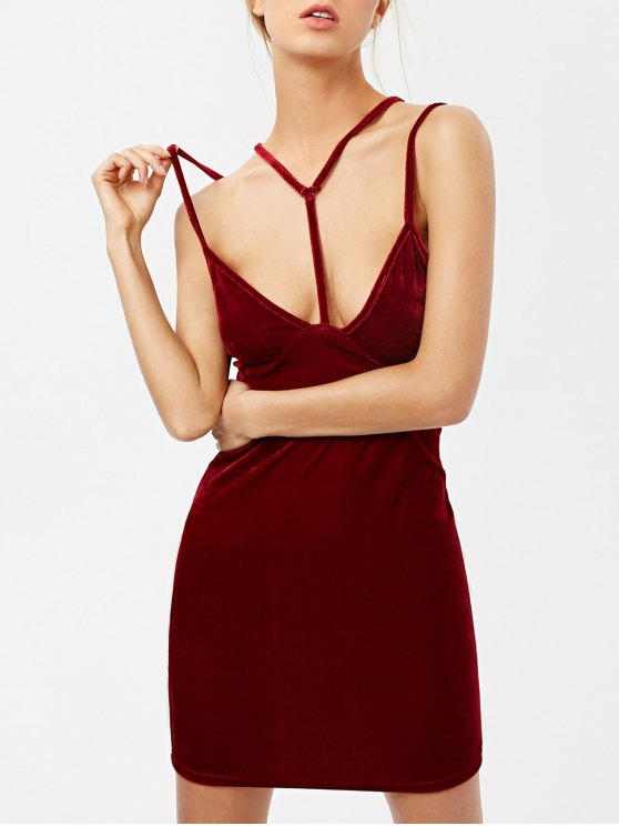 sale Low Cut Velvet Strappy Dress - BURGUNDY M