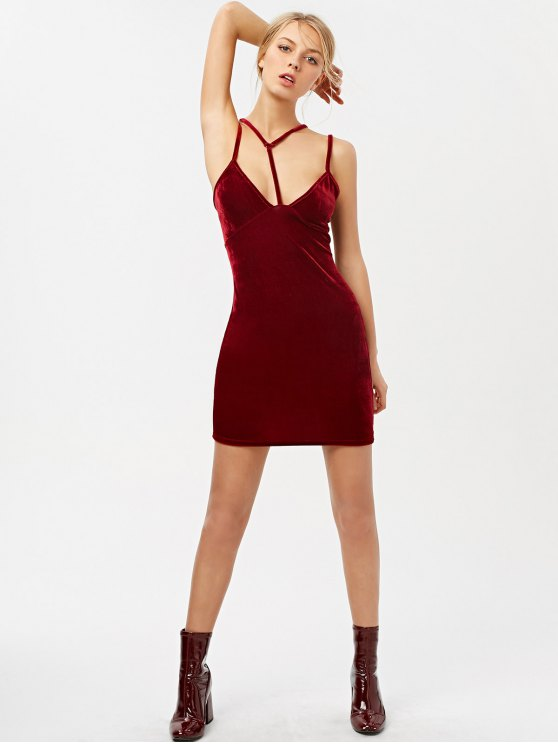 Low Cut Velvet Strappy Dress - BURGUNDY XL Mobile