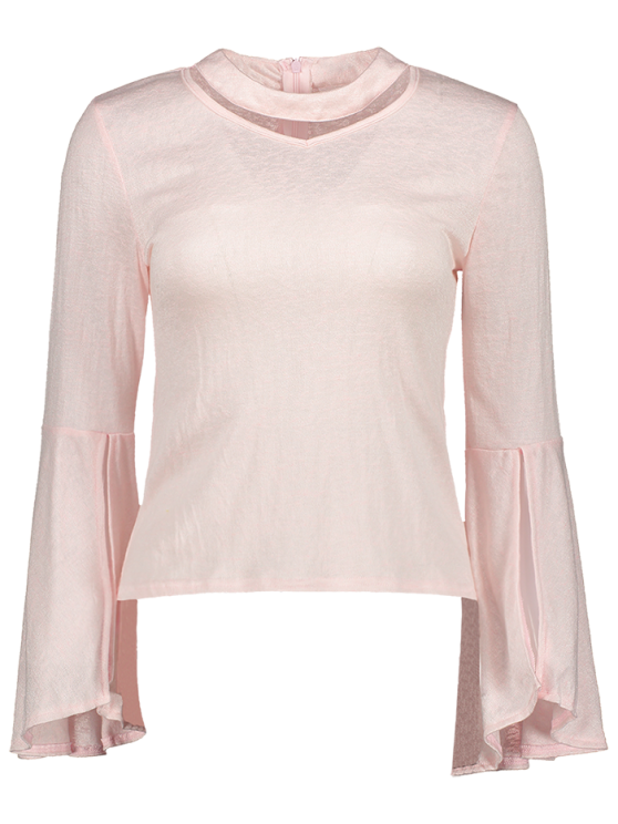 Bell Sleeve Choker Tee - PINK S Mobile