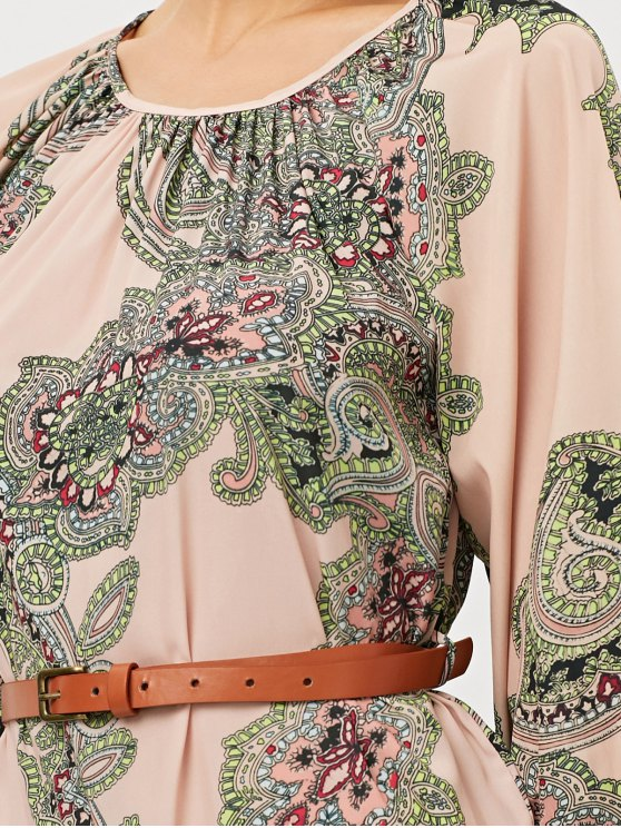 Lantern Sleeve Belted Paisley Dress - APRICOT L Mobile
