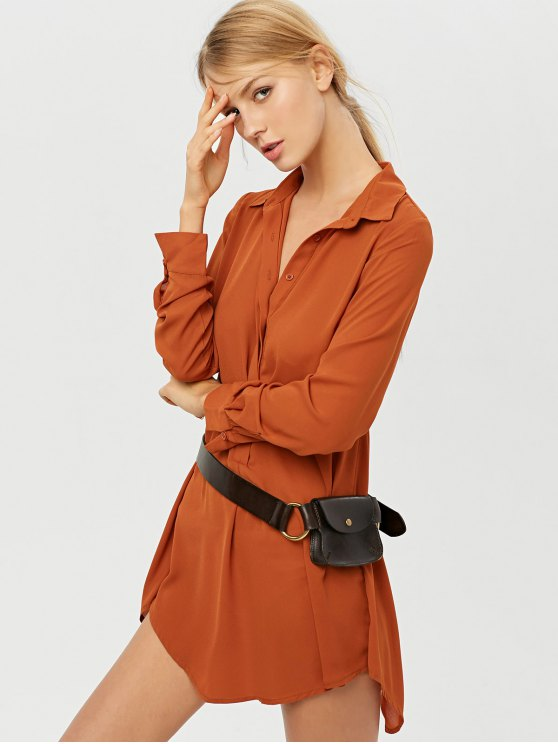 Self Tie Long Sleeve Shirt Dress - BROWN M Mobile