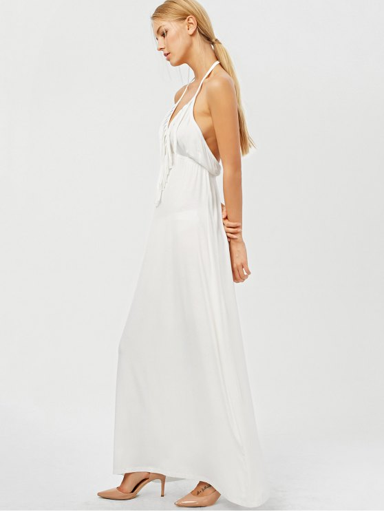 Backless Halter Fringe Low Cut Maxi Dress - WHITE 2XL Mobile