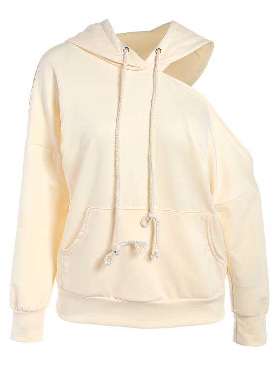 Oversized Cold Shoulder Hoodie - LIGHT APRICOT M Mobile