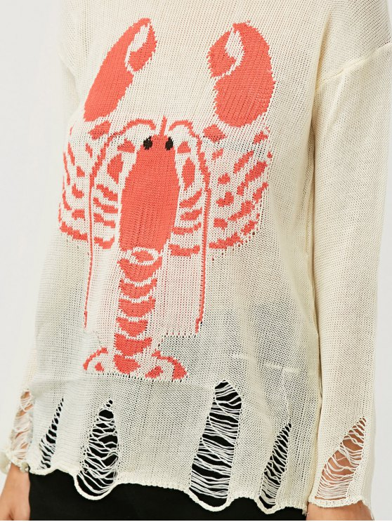 Oversized Distressed Graphic Sweater - OFF-WHITE ONE SIZE Mobile