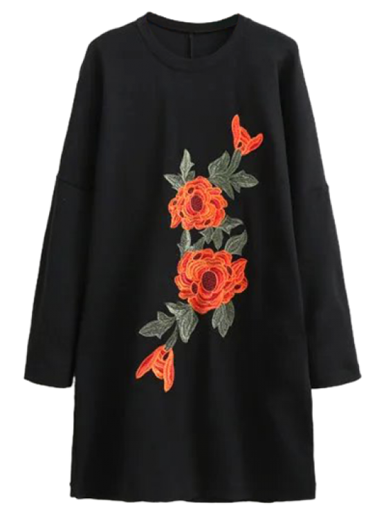 chic Floral Embroidered Long Sleeve Black Shift Dress - BLACK S