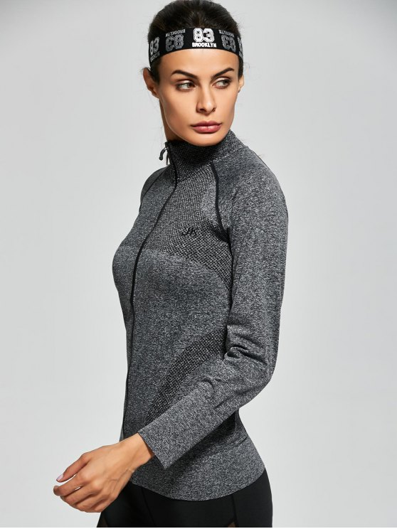 Quick Dry Zipper Work Out Jacket - GRAY M Mobile