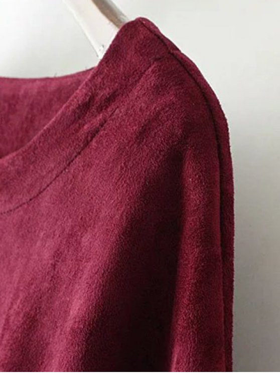 Suede Elastic Hem T-Shirt - KHAKI L Mobile