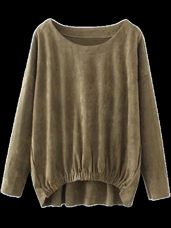 Suede Elastic Hem T-Shirt - ARMY GREEN XL Mobile