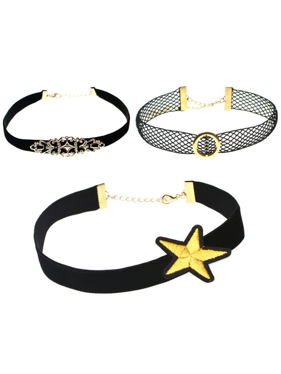 Round Star Geometry Faux Leather Necklace - #01  Mobile