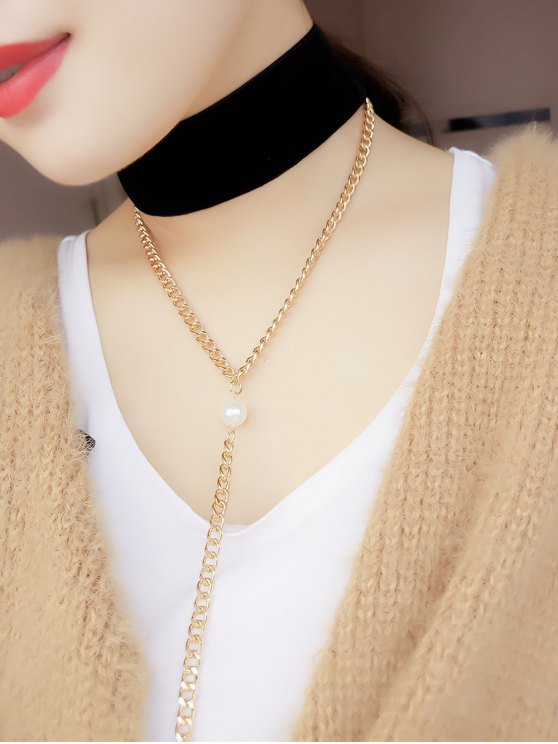 Fake Pearl Chain Velvet Layered Necklace - BLACK  Mobile