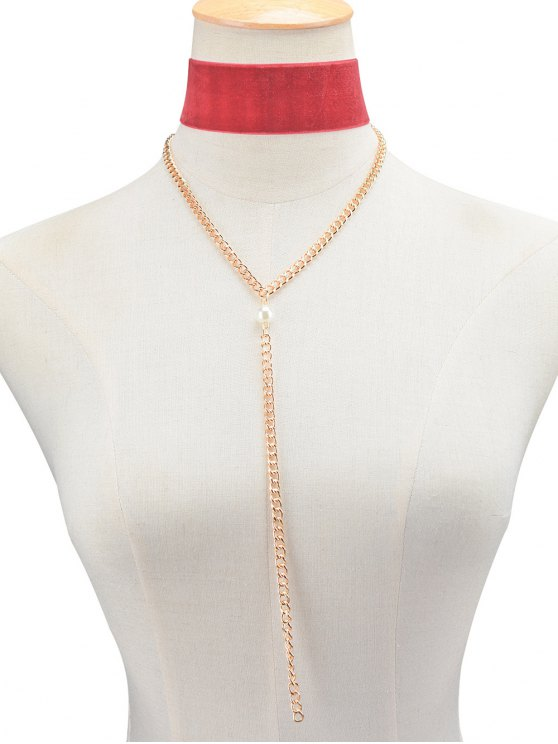 Fake Pearl Chain Velvet Layered Necklace -   Mobile