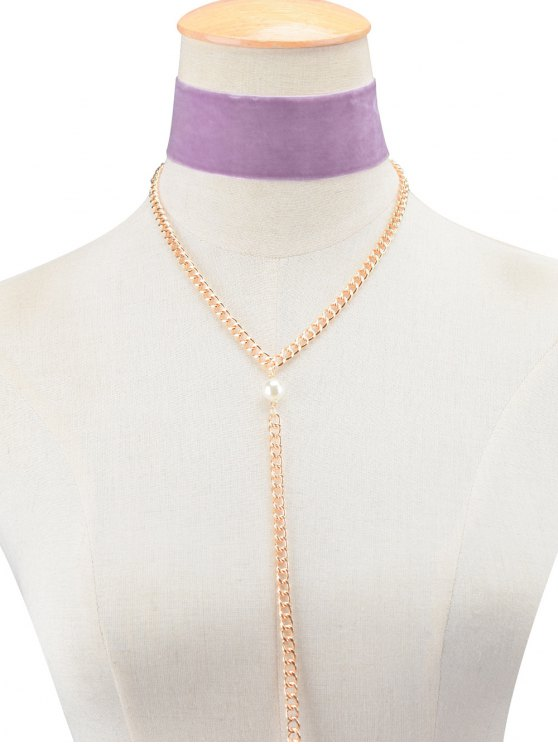 Fake Pearl Chain Velvet Layered Necklace - PURPLE  Mobile