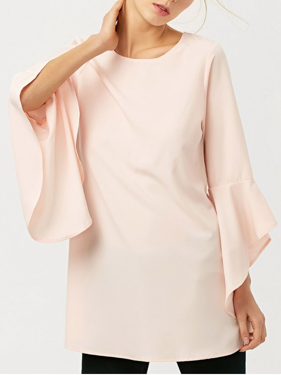 latest FItting Flare Sleeve Blouse - LIGHT APRICOT PINK L