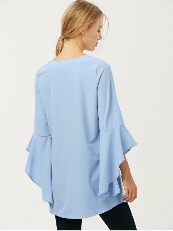 FItting Flare Sleeve Blouse - LIGHT BLUE XL Mobile