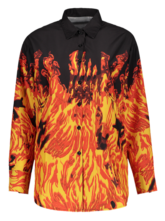 Oversized Fire Print Shirt - JACINTH M Mobile