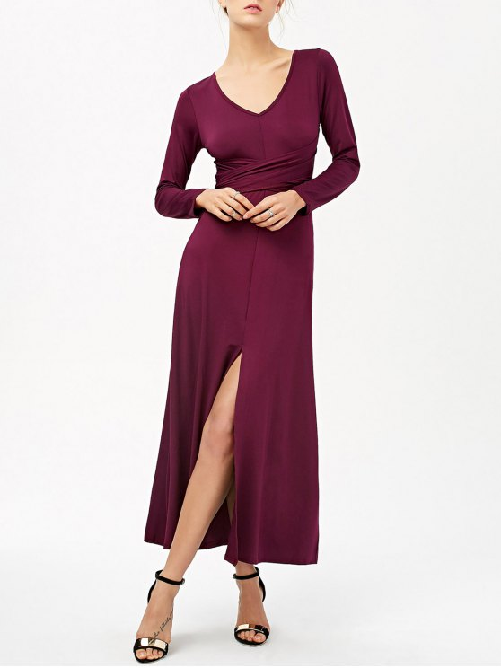 Belted High Slit Maxi Dress - PURPLISH RED L Mobile