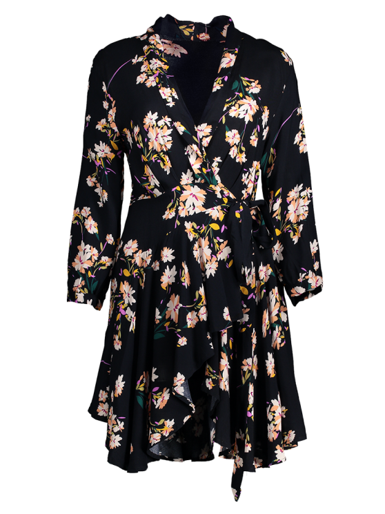 Floral Asymmetric Wrap Dress - BLACK S Mobile