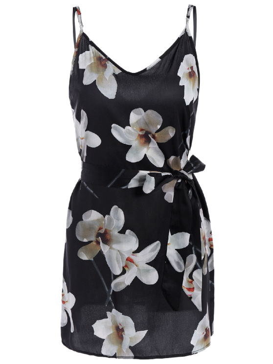 Floral Mini Dress With Silk Choker - BLACK M Mobile