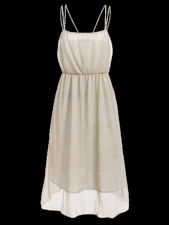 Shiny Midi Cami Dress - CHAMPAGNE L Mobile