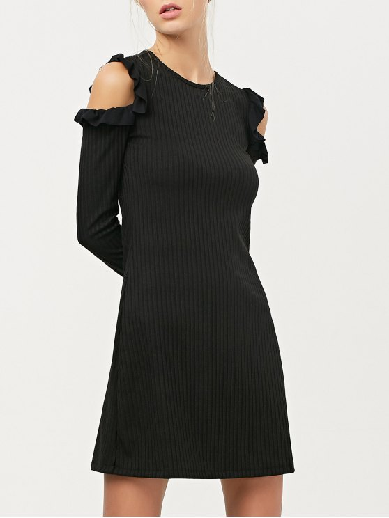 Long Sleeve Cold Shoulder A-Line Dress - BLACK S Mobile